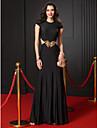 Trompetă / Sirenă Bijuterie Lungime Podea Tricot Bal Seară Formală Rochie cu Mărgele Aplică de TS Couture®