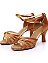 Pentru femei Pantofi Dans Latin / Sală Dans / Pantofi Salsa Satin Sandale Cataramă Toc Personalizat Personalizabili Pantofi de dans Maro / Auriu / Albastru regal