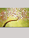 paleta cuțit de pictură în ulei de artă mână de perete pictat imagine decor proaspăt floare verde roz cireș întins (gata să stea)