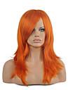人工毛ウィッグ / コスチュームウィッグ ストレート スタイル キャップレス かつら レッド オレンジ 合成 女性用 レッド かつら ミディアム