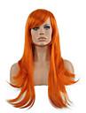 人工毛ウィッグ ストレート スタイル キャップレス かつら レッド オレンジ 合成 女性用 レッド かつら ロング