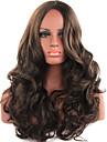 人工毛ウィッグ ウェーブ ブラウン Brown 合成 女性用 ミドル部 ブラウン かつら ロング キャップレス