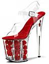 Per donna PVC Primavera / Estate / Autunno Club Shoes Tacchi / Sandali A stiletto / Plateau / Heel Translucent Cristalli / Floreale Bianco / Fucsia / Rosso / Matrimonio / Serata e festa
