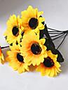 1 Gren Polyester Plast Solrosor Annat Bordsblomma Konstgjorda blommor 12.9inch/33cm