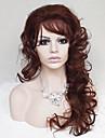 Syntetiska peruker Lockigt / Stora vågor Asymmetrisk frisyr / Med lugg Syntetiskt hår Naturlig hårlinje Brun Peruk Dam Lång Utan lock