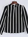 Femei Stand Bluză Casul/Zilnic Simplu(ă),Dungi Manșon Lung Primăvară-Negru Subțire