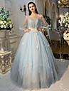 Haine Bal Prințesă Iluzii Lungime Podea Tulle Seară Formală Rochie cu Detalii Cristal Flori Dantelă Drapat Părți de QZ