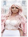Synthetische Peruecken Wellen Rosa Mit Pony Leicht Rosa Synthetische Haare Damen Seitenteil Rosa Peruecke Lang