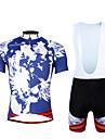 ILPALADINO Herr Kortärmad Cykeltröja med Haklapp-shorts - Blå Cykel Klädesset, 3D Tablett, Snabb tork, UV-Resistent, Andningsfunktion,
