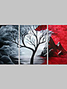 HANDMÅLAD Abstrakt Horisontell Panoramautsikt, Traditionell Duk Hang målad oljemålning Hem-dekoration Tre paneler