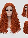 Synthetische Peruecken Locken Stil Mit Pony Kappenlos Peruecke Rot Orange Synthetische Haare Damen Rot Peruecke Lang Capless Peruecken