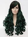 Парики из искусственных волос / Маскарадные парики Кудрявый Зеленый С чёлкой Зеленый Искусственные волосы Жен. Зеленый Парик Длинные Без шапочки-основы