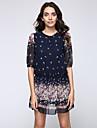 Pentru femei Mărime Plus Size Casual Sleeve Lantern Patinatoare Rochie - Plasă, Floral Talie Joasă Mini