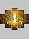 Peint à la main Fantaisie Toute Forme,Classique Cinq Panneaux Toile Peinture à l'huile Hang-peint For Décoration d'intérieur