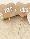 Vârfuri de Tort Personalizat Cuplu Clasic / Inimi Rășină Nuntă / Aniversare / Petrecerea Bridal Shower Panglici CiocolatiuTemă Plajă /