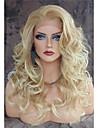 Femme Perruque Synthetique Lace Front Long Ondulation naturelle Blond Ligne de Cheveux Naturelle Partie laterale Perruque Naturelle