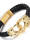 Bărbați Bratari din piele La modă costum de bijuterii Teak Piele  Placat Auriu 18K de aur Geometric Shape Infinit Bijuterii Pentru