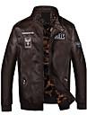 bărbați de moda de iarnă iarnă cădere jacheta, stand solid mâneci lungi regulate