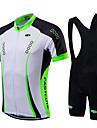 Fastcute Men\'s Short Sleeve Cycling Jersey with Bib Shorts - Light Green Bike Jersey Bib Tights Clothing Suit Breathable Quick Dry Sports Coolmax® Lycra Fashion Mountain Bike MTB Road Bike Cycling