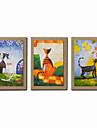 HANDMÅLAD Abstrakt / Människor / fantasi / Abstrakta porträtt olje,Moderna Tre paneler Kanvas Hang målad oljemålning For