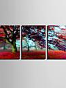 Stretchad Kanvastryck Landskap Botanisk Tre paneler Vertikal Tryck väggdekor Hem-dekoration