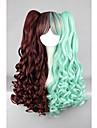 Syntetiska peruker / Kostymperuker Vågigt Syntetiskt hår Flätad peruk / Afrikanska flätor Grön Peruk Dam Cosplay Peruk / Lolita peruk