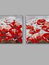 Pictat manual Abstract / Floral/Botanic Picturi de ulei,Modern / Clasic Două Panouri Canava Hang-pictate pictură în ulei For Pagina de