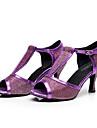 Damă Latin Jazz Pantofi Dans Modern Imitație de Piele Adidași Antrenament Exterior Toc Îndesat Auriu Negru Argintiu Mov 6cm
