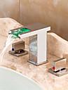 Nutida Hål med bredare avstånd Vattenfall LED Keramisk Ventil Tre hål Två handtag tre hål Krom, Badrum Tvättställ Kran