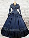 Victoriansk Rokoko Kostym Dam Klänningar Outfits Blå Vintage Cosplay Cotton Långärmad Lång längd