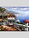 Pictat manual Peisaj Panoramică orizontală, Clasic Mediteranean pânză Hang-pictate pictură în ulei Pagina de decorare Un Panou