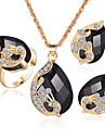 Dame Cristal Diamant sintetic Sapphire sintetic Sintetic Emerald Nuntă Petrecere Cristal Ștras Placat Auriu Aliaj Inele 1 Colier 1
