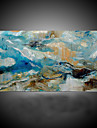 HANDMÅLAD Abstrakt Horisontell, Moderna Medelhavet Duk Hang målad oljemålning Hem-dekoration En panel
