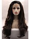 Syntetiskt hår peruker Vågigt limfria Naturlig hårlinje Spetsfront Naturlig peruk Lång Brun Svart