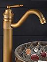 Hedendaagse Bassin Roteerbaar Keramische ventiel Een Hole Single Handle Een Hole Antiek Brons, Wastafel kraan