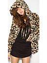 Dame Palton Piele Casul/Zilnic Șic Stradă,Leopard Manșon Lung Iarnă Capișon-Maro Mediu Blană Artificială