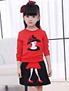 Fete Set Îmbrăcăminte Peteci Bumbac Zilnic Ieșire Iarnă Primăvară Toamnă Manșon Lung Negru Rosu
