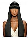 人毛 フロントレース かつら バング付き Kardashian スタイル ブラジリアンヘア ストレート ネイチャーブラック かつら 130% 毛の密度 ベビーヘアで ナチュラルヘアライン ブラックアメリカン風ウィッグ 100%手作業縫い付け ネイチャーブラック 女性用 ミディアム ロング 人毛レースウィッグ