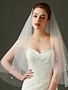 Voal de Nuntă Un nivel Voaluri Lungi Până la Cot Voaluri Lungime Până la Vârfurile Degetelor Margine Tăiată Margine cu Mărgele Tul