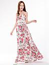 Femme Grandes Tailles Chic de Rue Maxi Balancoire Robe - Imprime A Bretelles Printemps Ete Rose Claire XXL XXXL 4XL Coton Sans Manches