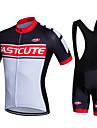 Fastcute Herr Kortärmad Cykeltröja med Haklapp-shorts - Vit Cykel Shorts Bib Shorts Bib Tights Tröja Jacka Klädesset, 3D Tablett, Snabb