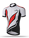 XINTOWN Homme Manches Courtes Maillot de Cyclisme - Rouge/Blanc Velo Sechage rapide, Respirable, Anti-transpiration