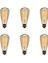 Ecolight™ 6pcs 40W E26/E27 ST64 2300 K Glödande Vintage Edison glödlampa AC 220-240V V