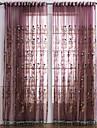Stångficka Hyls-topp Hällor topp Dubbel veckad Två paneler Fönster Behandling Nyklassisistisk, Broderi Sovrum Polyester Material Skira
