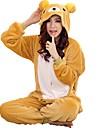 Kigurumi-pyjamas Björn Onesie-pyjamas Kostym Korallfleece Gul Cosplay För Vuxna Pyjamas med djur Tecknad serie halloween Festival / högtid