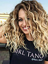 Syntetiskt hår peruker Lockigt Mittbena Mörka hårrötter Ombre-hår Utan lock Naturlig peruk Mellan Blond
