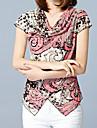 Dame Rever Clasic Tricou Casul/Zilnic Muncă Plus Size Simplu(ă) Sofisticat,Imprimeu Animal Manșon scurt Vară-Roz Tipuri Speciale de Piele