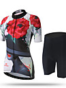 XINTOWN Dam Kortärmad Cykeltröja med shorts - Svart/röd Cykel Shorts Tröja Byxa, Snabb tork, UV-Resistent, Andningsfunktion,