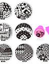 Blomma - Finger / Tå - Andra Dekorationer - av Metall - 10pcs nail plates+ 1set nail stamper and scraper - styck 5.5cm for dia - cm