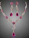 Pentru femei Cristal / Sintetic Ruby Set bijuterii - Cristal, Zirconiu, Zirconiu Cubic Floare European, Modă Include Seturi de bijuterii de mireasă Mov / Roz Pentru Nuntă / Petrecere / Ocazie specială